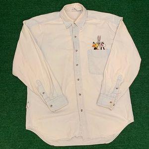 Vintage 90s Looney Tunes denim button shirt